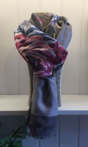 Rose Print Scarf - Grey with Pink and Blue Roses & Dark Grey Border